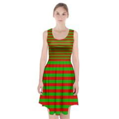 Pattern Lines Red Green Racerback Midi Dress