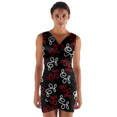 Elegance   Red  Wrap Front Bodycon Dress