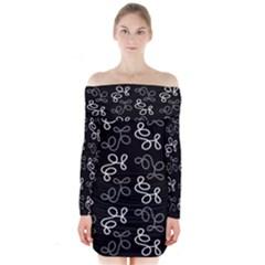 Elegance   Gray Long Sleeve Off Shoulder Dress
