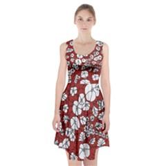 Cvdr0098 Red White Black Flowers Racerback Midi Dress