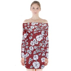 Cvdr0098 Red White Black Flowers Long Sleeve Off Shoulder Dress