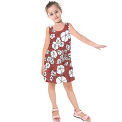 Cvdr0098 Red White Black Flowers Kids  Sleeveless Dress