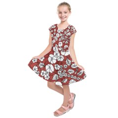 Cvdr0098 Red White Black Flowers Kids  Short Sleeve Dress