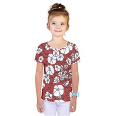 Cvdr0098 Red White Black Flowers Kids  One Piece Tee