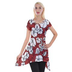 Cvdr0098 Red White Black Flowers Short Sleeve Side Drop Tunic