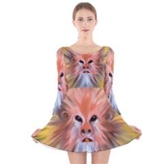 Abstract Decoration Decorative Long Sleeve Velvet Skater Dress