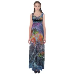 Abstract Digital Art Empire Waist Maxi Dress