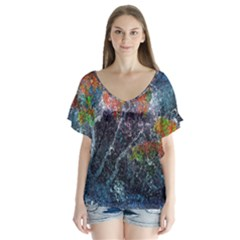 Abstract Digital Art Flutter Sleeve Top