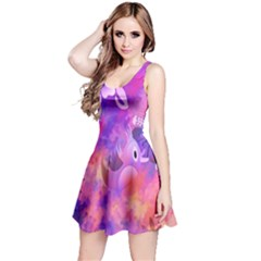 Abstract Flowers Bird Artwork Reversible Sleeveless Dress