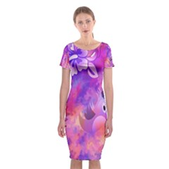 Abstract Flowers Bird Artwork Classic Short Sleeve Midi Dress