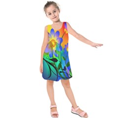 Abstract Flowers Bird Artwork     Kids  Sleeveless Dress