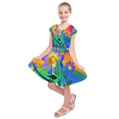Abstract Flowers Bird Artwork     Kids  Short Sleeve Dress