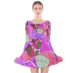 Abstract Flowers Digital Art Art  Long Sleeve Velvet Skater Dress