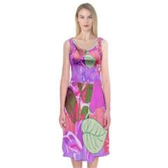 Abstract Flowers Digital Art Art  Midi Sleeveless Dress