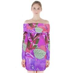 Abstract Flowers Digital Art Art  Long Sleeve Off Shoulder Dress
