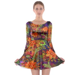 Abstract Flowers Floral Decorative Long Sleeve Skater Dress