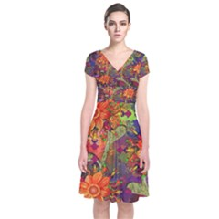 Abstract Flowers Floral Decorative Short Sleeve Front Wrap Dress