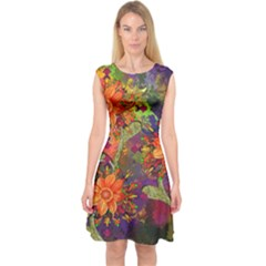 Abstract Flowers Floral Decorative Capsleeve Midi Dress