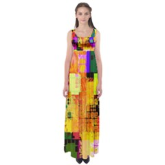 Abstract Squares Background Pattern Empire Waist Maxi Dress