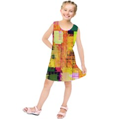 Abstract Squares Background Pattern Kids  Tunic Dress