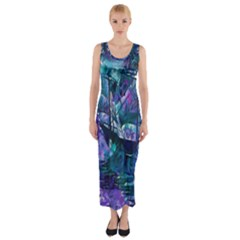 Abstract Ship Water Scape Ocean Fitted Maxi Dress
