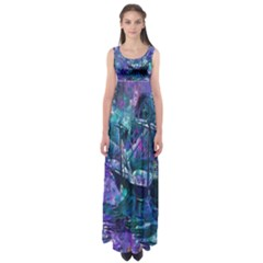 Abstract Ship Water Scape Ocean Empire Waist Maxi Dress