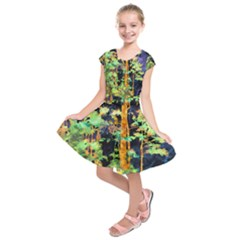 Abstract Trees Flowers Landscape Kids  Short Sleeve Dress