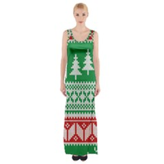 Christmas Jumper Pattern Maxi Thigh Split Dress