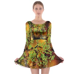 Backdrop Background Tree Abstract Long Sleeve Skater Dress