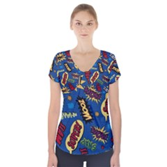 Fabric Comic Words Short Sleeve Front Detail Top