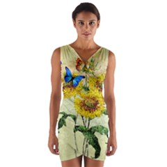 Backdrop Colorful Butterfly  Wrap Front Bodycon Dress