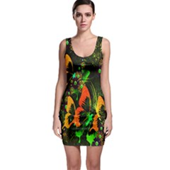 Butterfly Abstract Flowers Sleeveless Bodycon Dress