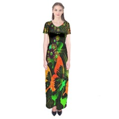 Butterfly Abstract Flowers Short Sleeve Maxi Dress