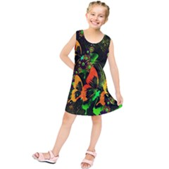 Butterfly Abstract Flowers Kids  Tunic Dress