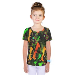 Butterfly Abstract Flowers Kids  One Piece Tee