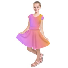 Blank Desk Pink Yellow Purple Kids  Short Sleeve Dress