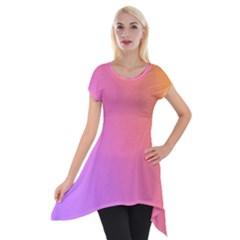 Blank Desk Pink Yellow Purple Short Sleeve Side Drop Tunic