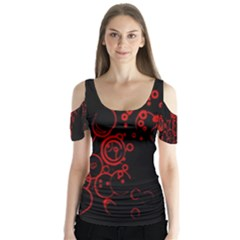 Abstraction Textures Black Red Colors Circles Butterfly Sleeve Cutout Tee
