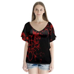 Abstraction Textures Black Red Colors Circles Flutter Sleeve Top