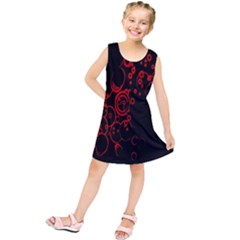 Abstraction Textures Black Red Colors Circles Kids  Tunic Dress