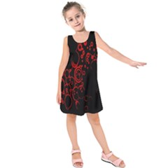 Abstraction Textures Black Red Colors Circles Kids  Sleeveless Dress