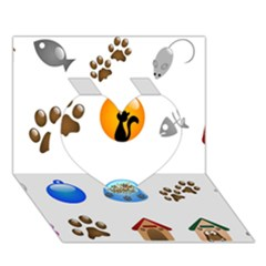Cat Mouse Dog Heart 3d Greeting Card (7x5)