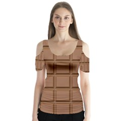 Chocolate Butterfly Sleeve Cutout Tee