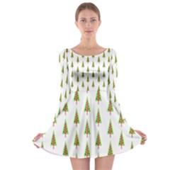 Christmas Tree Long Sleeve Skater Dress