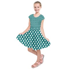 Circular Pattern Blue White Kids  Short Sleeve Dress