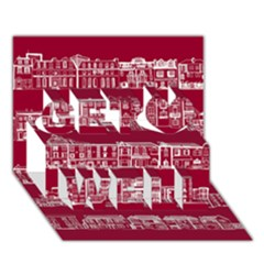 City Building Red Get Well 3d Greeting Card (7x5)