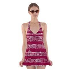 City Building Red Halter Swimsuit Dress