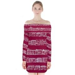 City Building Red Long Sleeve Off Shoulder Dress