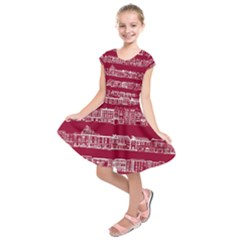 City Building Red Kids  Short Sleeve Dress