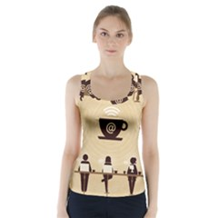 Coffee Ofice Work Commmerce Racer Back Sports Top